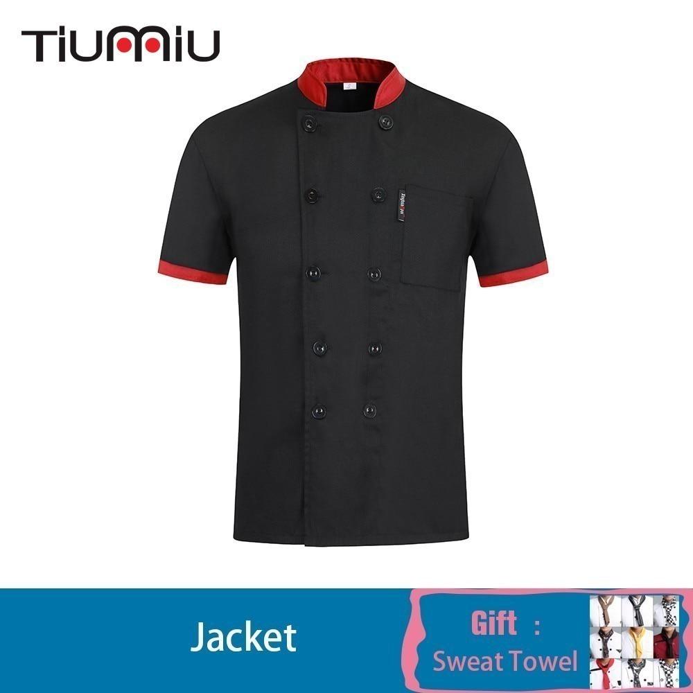 Chef Jacket Short Sleeves Patchwork Chef Shirt With Free Scarf Gift Cook Kitchen Restaurant Food Service Hotel Work Uniform