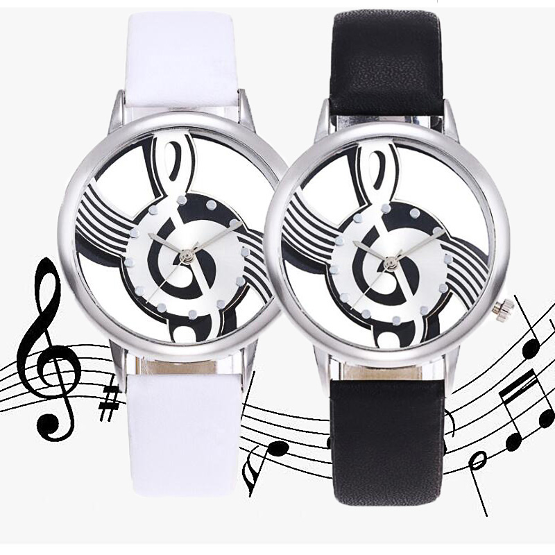 Fashion Ladies Musical Note Style Leather WristWatch Unique Woman Quartz Analog Hollow Gfit Casual Watch Female Relogio Feminino