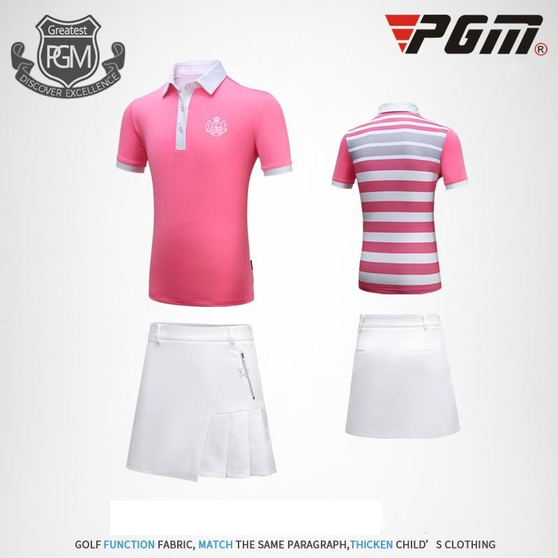 PGM Golf Costume Girl Short Sleeved Short Skirt Breathable Sweaty Sport Dress Size M-XXL marulong s0002 women s fashionable flower pattern short sleeved nightdress green multi color