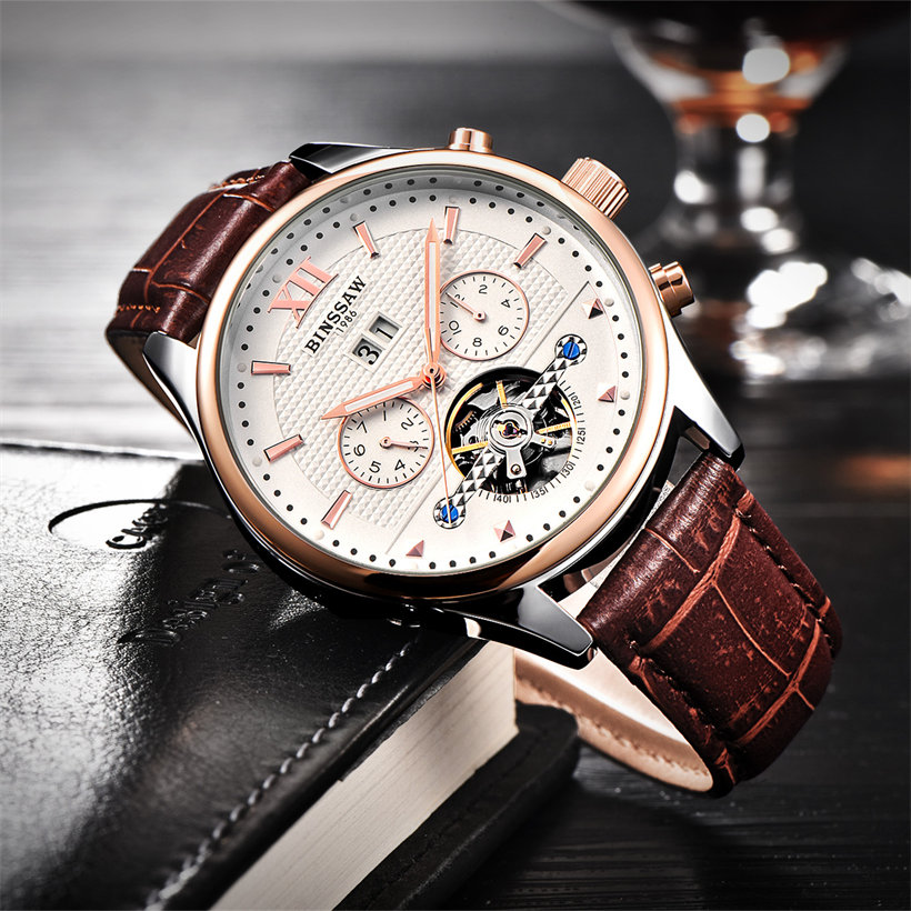 BINSSAW Merk Heren Horloges Automatisch mechanisch horloge Tourbillon - Herenhorloges - Foto 4