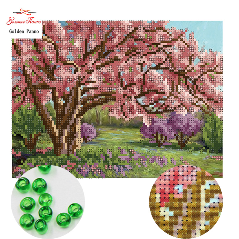 Golden Panno,Needlework DIY Cross Stitch Sets For Embroidery Kits In Full Bloom Pattern Counted Bead Cross-Stitching 0413