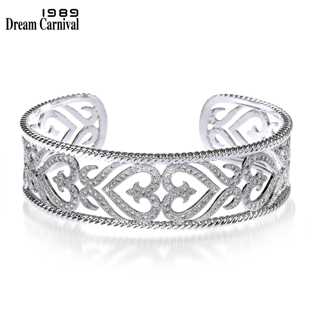 Dreamcarnival1989 Classique Percé Manchette Bracelets pour Femmes Rhodium ou Or-Couleur Synthétique CZ Pavée De Mariée Bijoux De Mariage