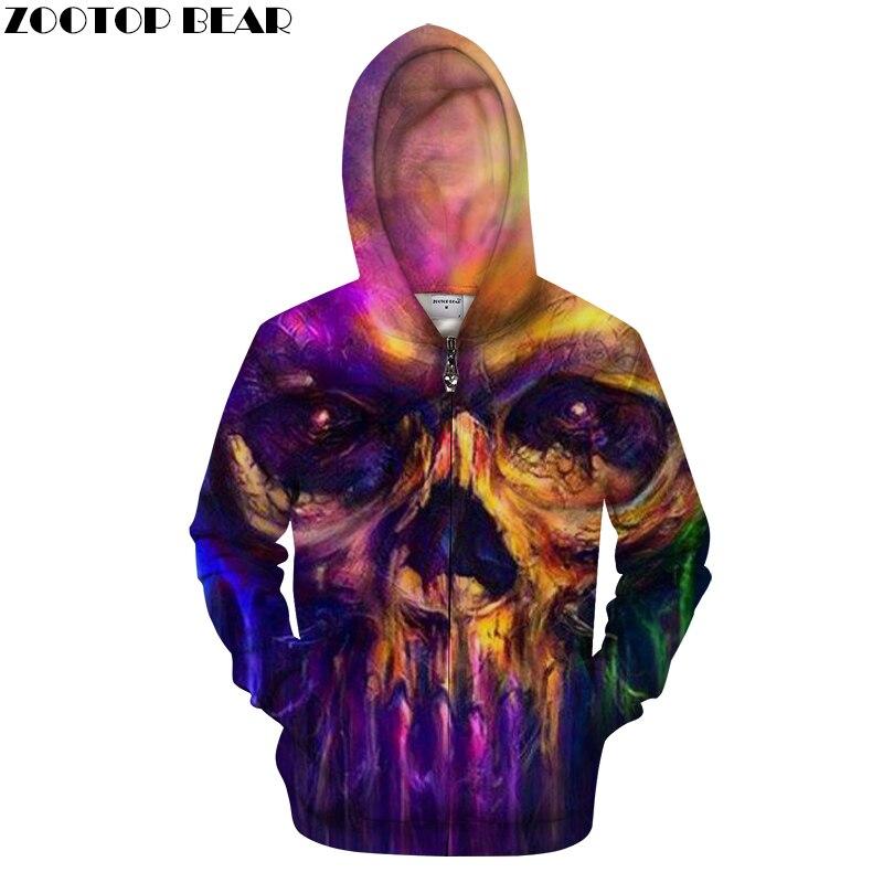 Color Skull 3D Zip Hoodie Men Zipper Hoody Casual Sweatshirt Printed Tracksuit Pullover GrootCoat Streatwear DropShip ZOOTOPBEAR