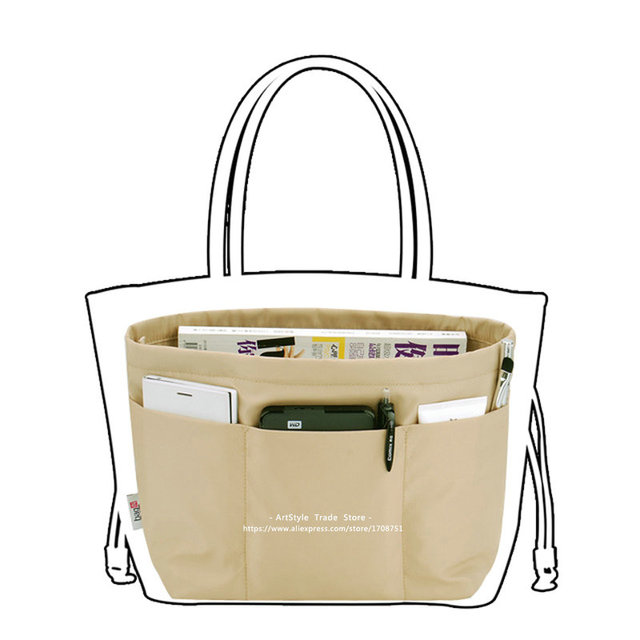 Bolsillos bolsa de cosméticos organizador profesional femenino heighten insertar liner paquete bolsa de almacenamiento de gran capacidad de asas bag in bag