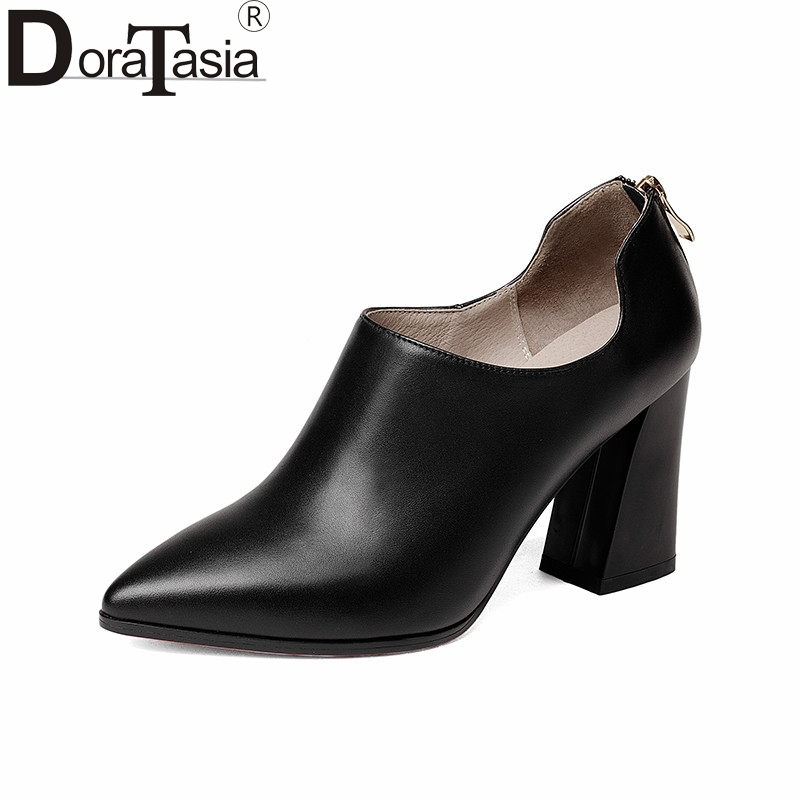 DoraTasia 2018 Spring Autumn Fashion Elegant Cow Leather Women Deep Pumps Zip High Hoof Heels Ol Shoes Woman Black Lady Work siketu 2017 free shipping spring and autumn women shoes fashion sex high heels shoes red wedding shoes pumps g107