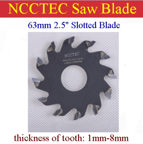 2.5'' 63mm Wood Aluminum Carbide Thick Slotted Blade | Thickness Of Tooth 1-8mm | Gangsaw To Open A Channel Alternate Top Bevel