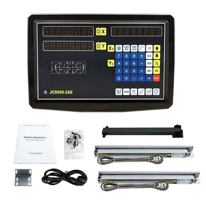 Complete 2 AXIS DRO Set Kit Digital Readout Display JCS900 2AE with 2 PCS 1U Micron