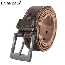LA SPEZIA Pin Buckle Leather Belt Men Coffee Classic Accessories Belt Male Square Vintage Genuine Leather Cowhide Brand Belt цена и фото