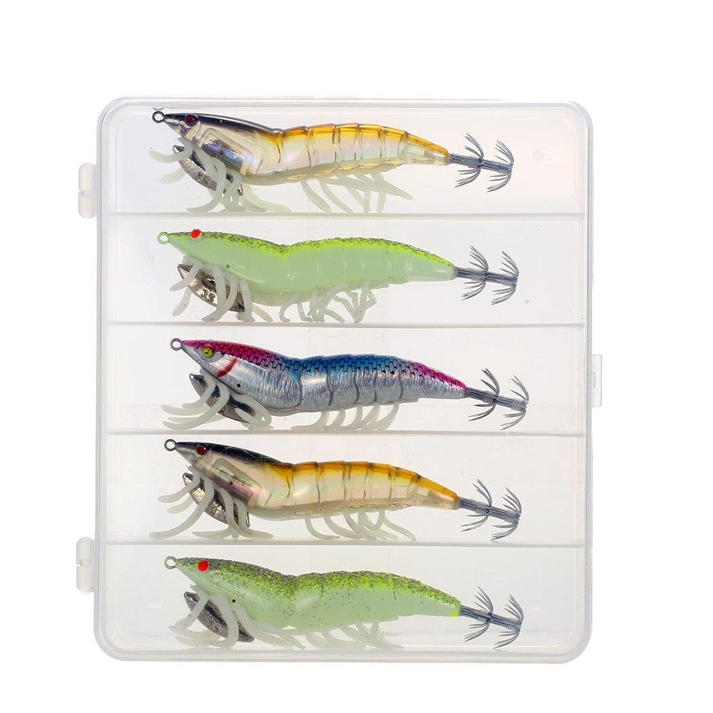 5PCs luminous shrimp fishing lures squid baits  night lures fishing tackles`yu