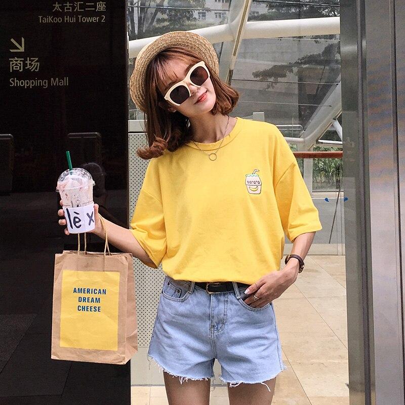 Ulzzang harajuku shirt mulheres tops de verão 2019 coreano bonito japão  kawaii garrafa de rock banana bordado melhor amigo do t shirt das mulheres  em ... c831ec58a9167