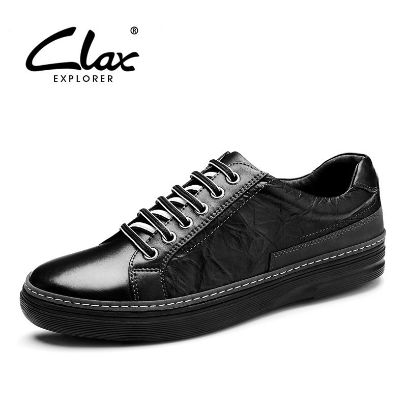 CLAX  Mens Casual Shoes 2018 Spring Summer Autumn Leather Footwear for Male Genuine Leather Leisure Shoe British Style Flats genuine leather mens oxford shoes breathable men flats casual martin boots shoes 2017 spring autumn summer lace up unisex shoe