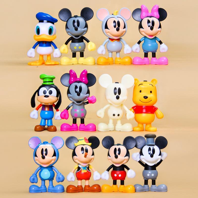 12pcs Mickey Mini Figures Toys Mickey Minnie Donald Duck Winnie Bear PVC Action Figures Toys Doll Collection Model Toy for Kids  presidential donald trump doll shaking head toys car oranment toy for kids