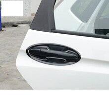 Lsrtw2017 abs carbon fiber car door handle trims bowl chrome for honda fit 2014 2015 2016 2017 2018 2019