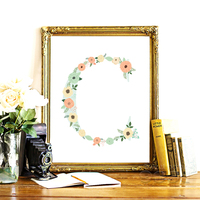 Floral Monogram Nursery Letter C Art Print Art Print Painting Poster Wall Pictures For Home Decoration