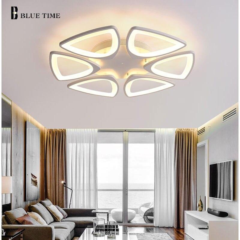 BLUE TIME Modern LED Pendant Lights for Dining Room Foyer White Acrylic LED Pendant Lamp Contemporary home Design L100CM H150CM