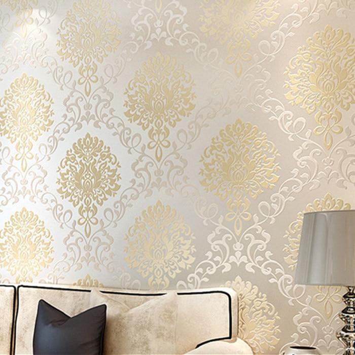 Modern Europe Textured Damask Wallpaper Light Reflection