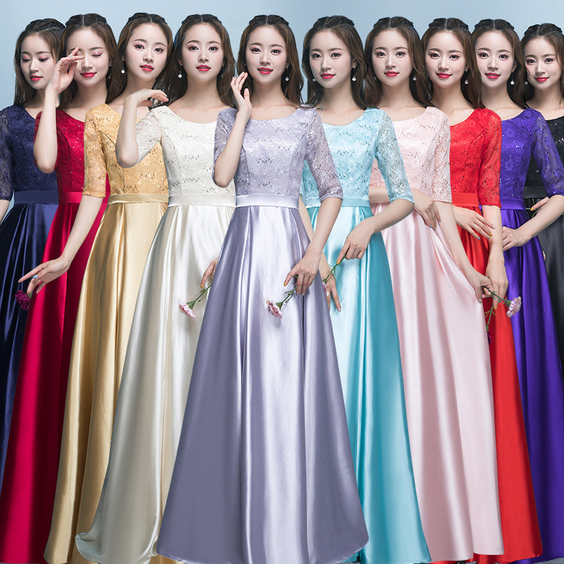 Customized Long Round Neck Bridesmaid Dress Party Dress For Wedding Mid Sleeve Ruched Lace Ribbons Prom Gowns For Graduation