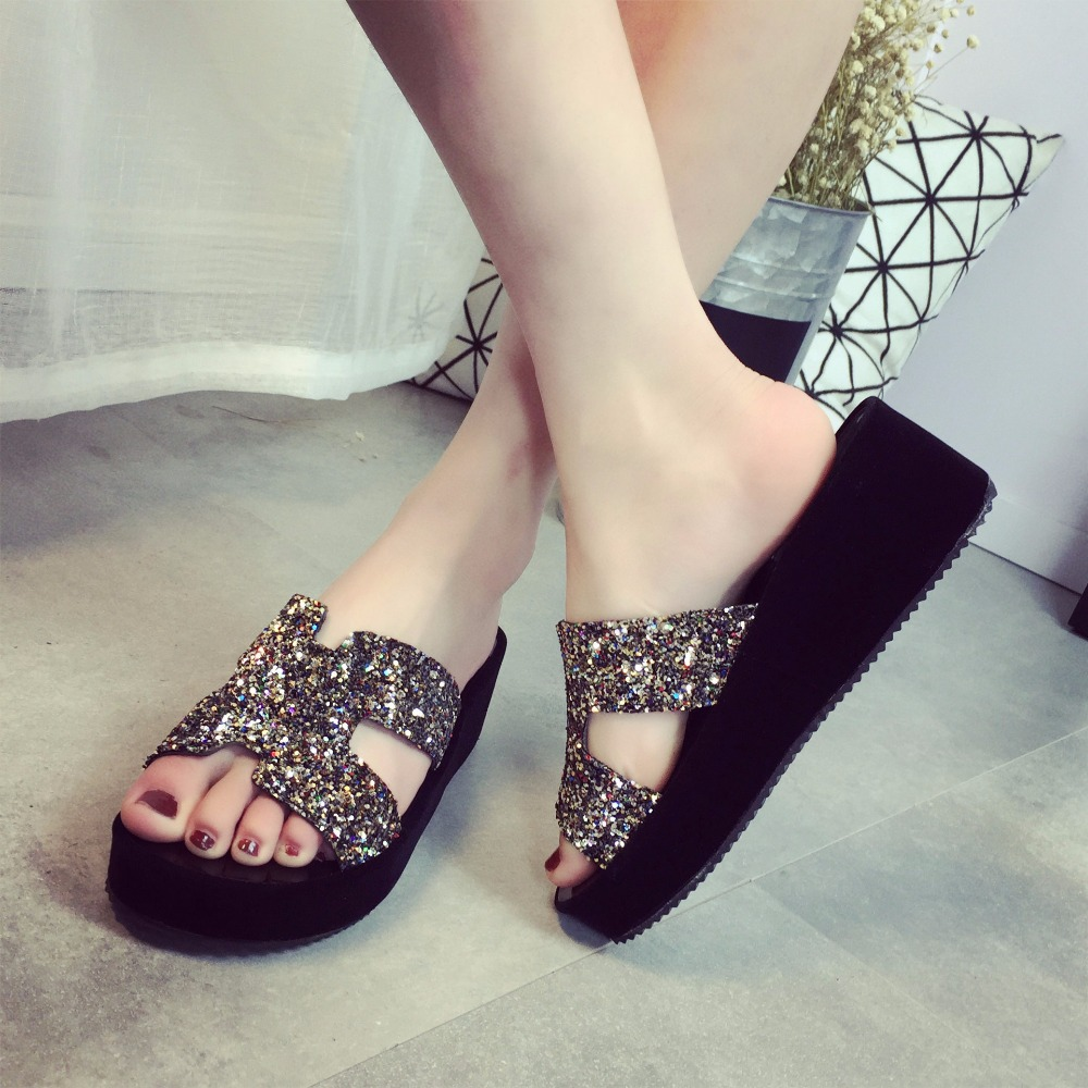 Women's sandals with bling - 2017 New Arrival Ladies Girls Gold Silver Sandals Bling Bling Sequin Wedges Shoes Shoes Women