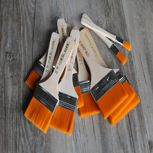 Flat Nylon Hair Wooden Penholder Oil Painting Brush Acrylic Paint Brushes Scrubbing Brushes for Kids Student Art Supplies