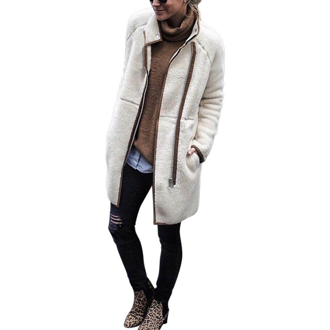 2018 Frauen Winter Warm Zipper Shaggy Strickjacke Tops Damen Lange Ärmeln Fleece Rollkragen Strickjacken Outwear Femme Das Ganze System StäRken Und StäRken