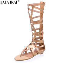 Fashion Gladiator Sandals Women 2016 Brand Design Cut outs Flat Knee High Gladiator Sandals Boots Summer Shoes Woman XWF0165-5