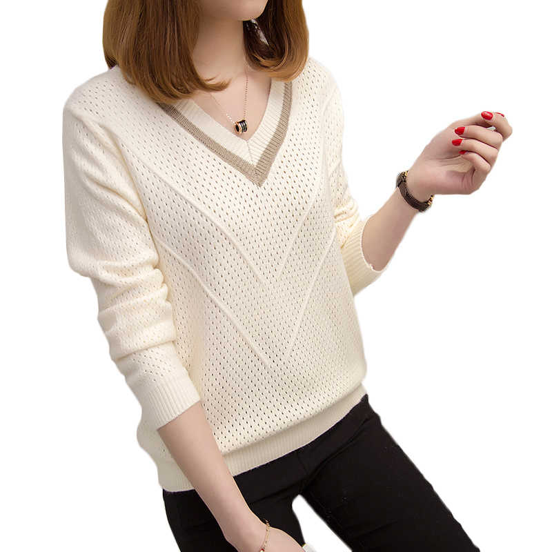 Bella Philosophy Women sweaters pullovers 2019 Spring Korean hollow sweaters loose knitted sweater female v-neck pullover tops