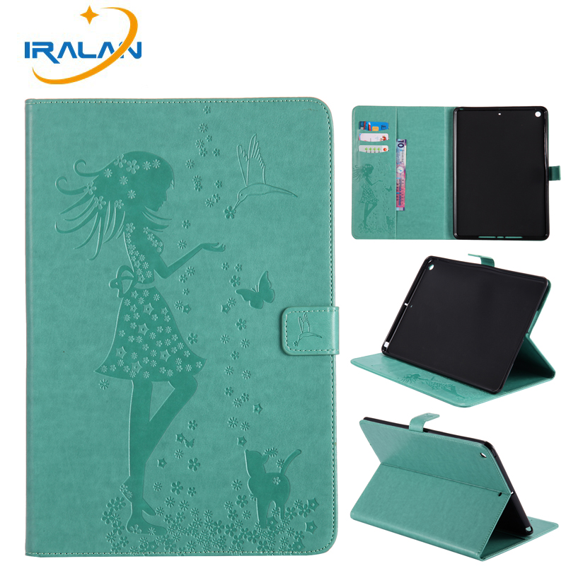 Cat Woman Pattern Flip Stand card Cover For iPad 9.7 2017 2018 5th 6th Generation A1822 A1954 Case Funda Tablet Shell +Film+Pen