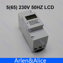 5 (65) A 230 V 50 HZ DDS238-2 MONOFÁSICO carril Din KWH Watt hora carril din contador de energía LCD