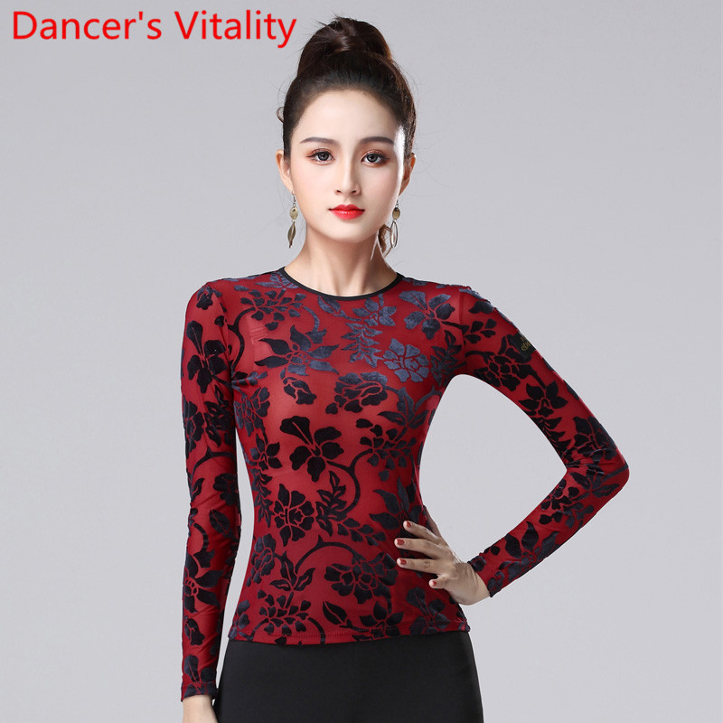 Modern Dance Top Latin Dance Wear Autumn Winter Adult Fashion National Standard Waltz Jazz Dance Practice Performance Costum