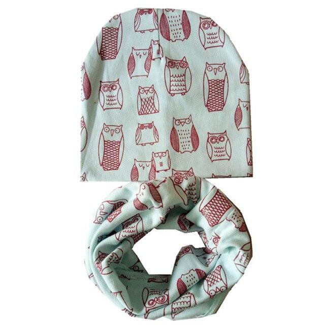 Otoño Invierno niños Collar bufanda chicas sombreros primavera niño tapa  Set búhos imprimir niños gorros de dd60fe39ab5