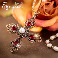 Special New Fashion Gold Plated Maxi Necklaces Pendants Cross Natural Pearl Vintage Statement Jewelry Gifts For