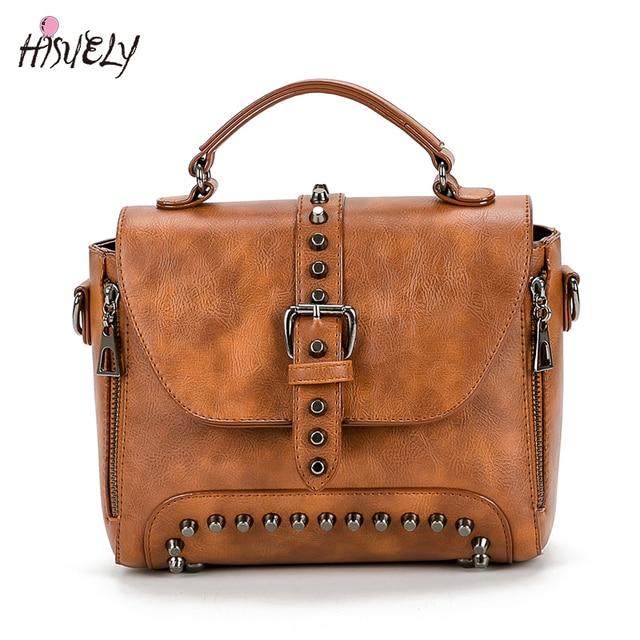 ede459378c9f 2019 New Women Messenger Bags Vintage Bag Ladies Crossbody Bag For Ladies  Rivet Small Handbags High Quality Girl Motorcycle Bag
