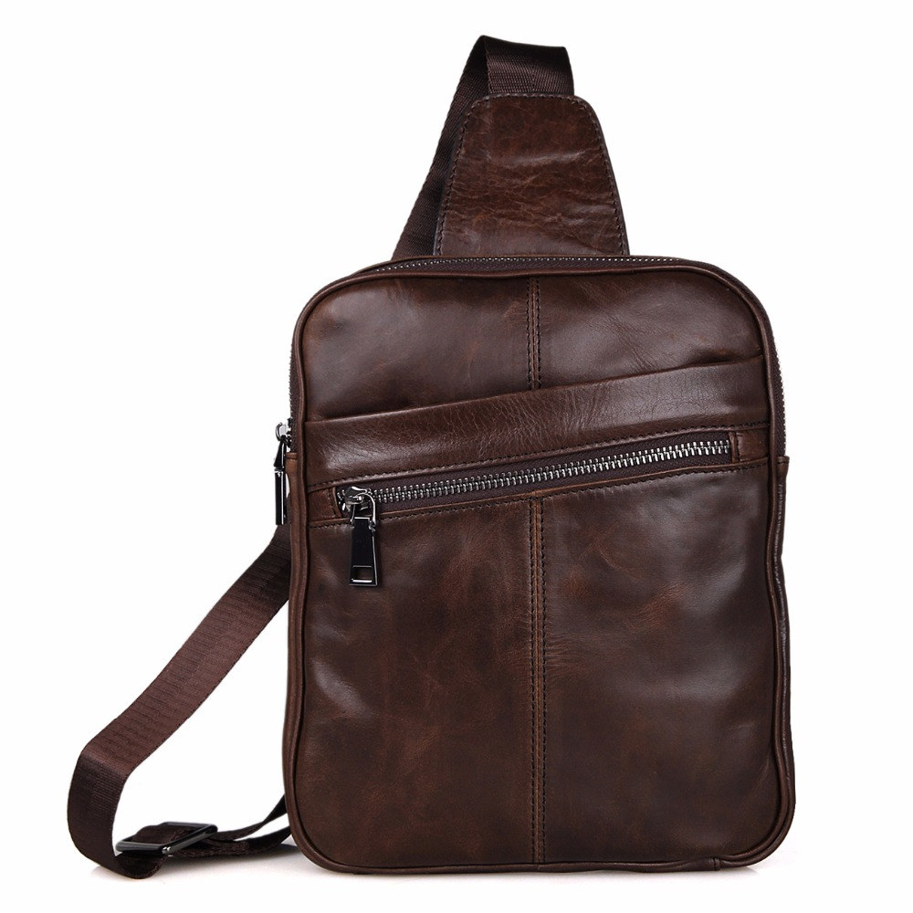 Genuine Cow Leather Men 39 s Cross Body Small Chest Bag Backpack For Man 7217C 1 in Backpacks from Luggage amp Bags