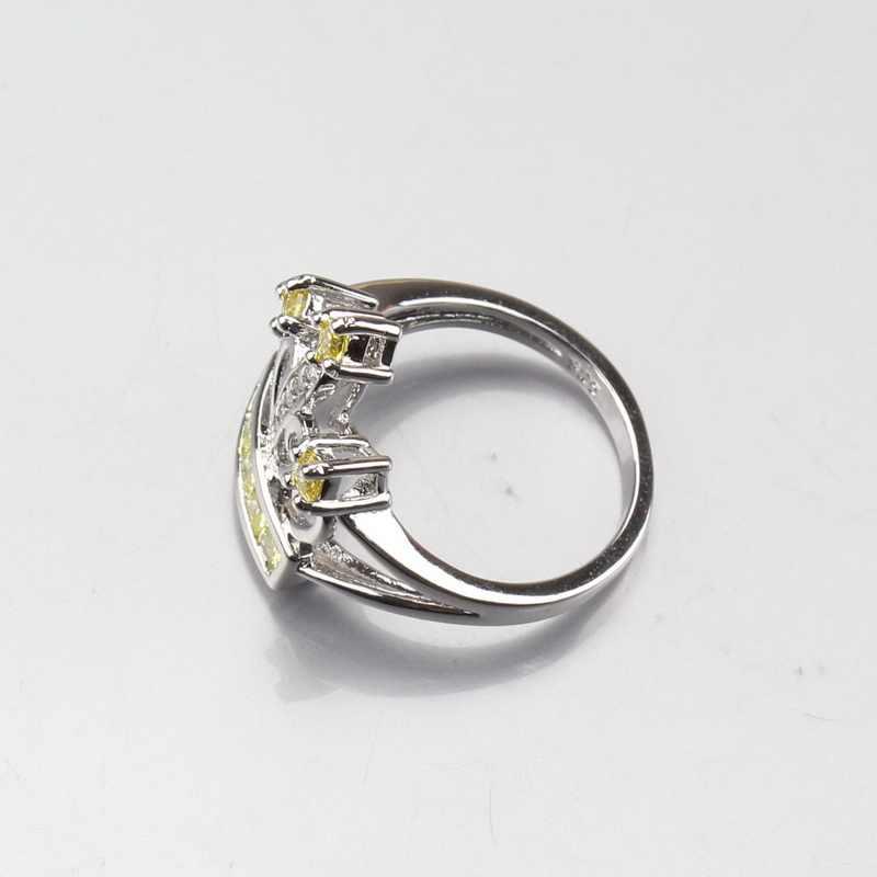 เมจิกตกแต่ง 925 เงินสเตอร์ลิงสีเหลืองมงกุฎเพชรเครื่องประดับชุดต่างหูสร้อยคอจี้แหวนจัดส่งฟรี