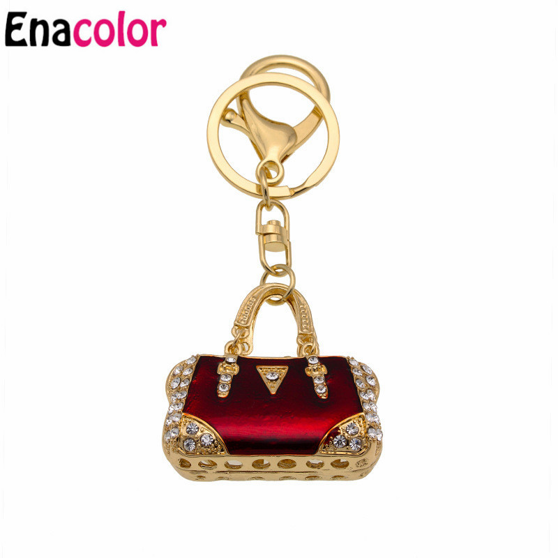 Enacolor Red Enamel Hangbag Purse Bag Pendant Keychain Keyring Fashion Jewelry Women Lady Accessories Keychain Keyring
