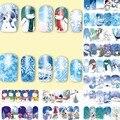 12 hojas de Navidad belleza Nail Art Sticker Transferencia de Agua tatuajes de Accesorios de Uñas herramientas de manicura estilo muñeco de nieve del copo de nieve de invierno