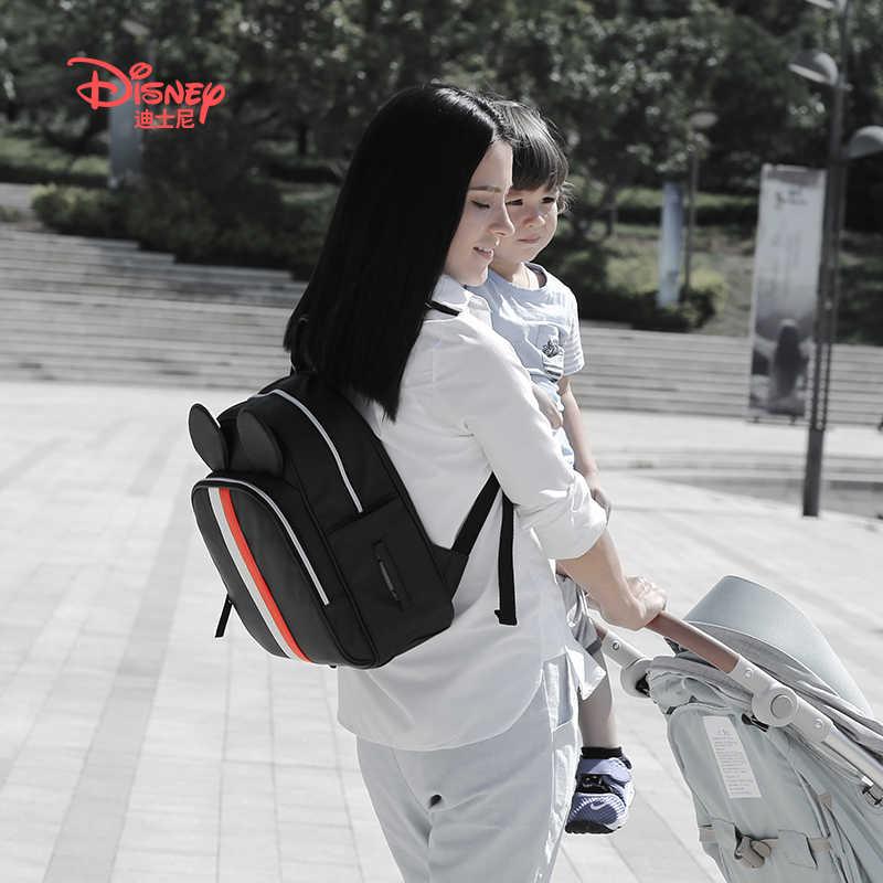 Bolso de mamá de Disney con bolsa de pañales de bebé con calentador USB con bolsa de pañales de maternidad bolsa de cochecito de Mickey mochila para bebé cuidado