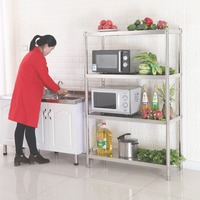 (Ship from EU) Stainless Steel Shelf Unit Rack Multi Purpose Stacked Storage Rack for Kitchen Home Office Storage 4 Layer