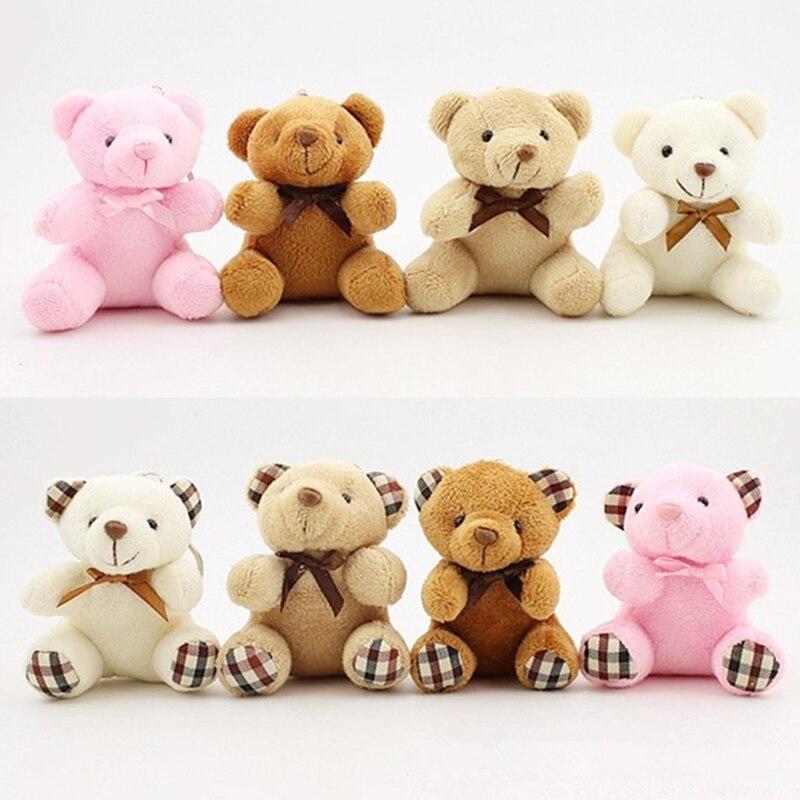 Fashion Cute Pompom Cartoon Doll Animal Teddy Bear Plush Toy Keychain Pendant Keyring Women Bag Charms Key Chain Trinket