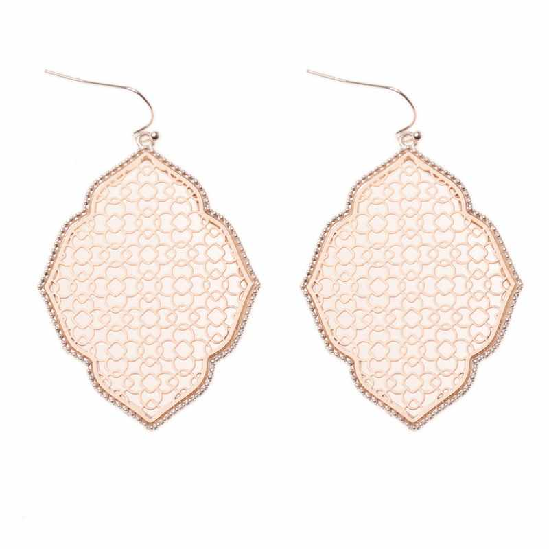 Rainbery Two Tone Filigree Earrings for Women 2019 Trendy Large Geometric Morocco Dangle Earrings Jewelry Wholesale JE0894