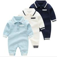 Baby Boy Baptism White Collar Bodysuit Comfortable Baby Boy Outfit Jumpsuit Infant Buttons Sweater Knitted Cotton Clothes