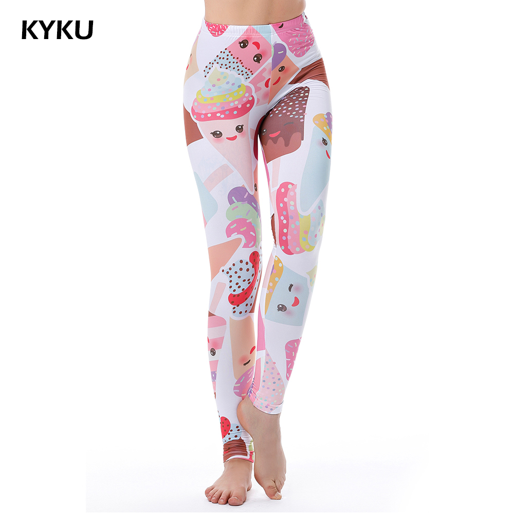 Pink White Cake Dessert Ice Cream Leggings Sexy Summer Leggings Women For Fitness Leggins Elastic Push Up Slim 2017 3D Printing