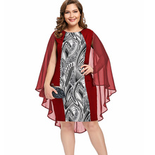 40ca0b0ed42a0 Wipalo Large Plus Size Print Cape Bobycon Dress Elegant Party Club Dresses  Robe Femme Spring O