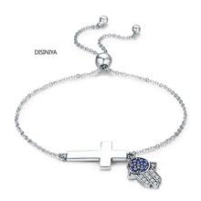 DISINIYA  Genuine 925 Sterling Silver Hamsa Hand Eye FLoss Chain Bracelet For Women Fine Jewelry Lucky Gift FIB028