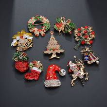 Terreau Kathy Hot Sale Creative Christmas Gifts Santa Claus Christmas Trees Socks Hat Sock Rhinestone Brooches For Women Gift(China)