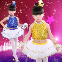 New 2017 Kids Jazz Dance Outfit Clothing Child Sequin Hip Hop/Modern Dance Costume Sexy Jazz Dance Costumes Dress for Girls