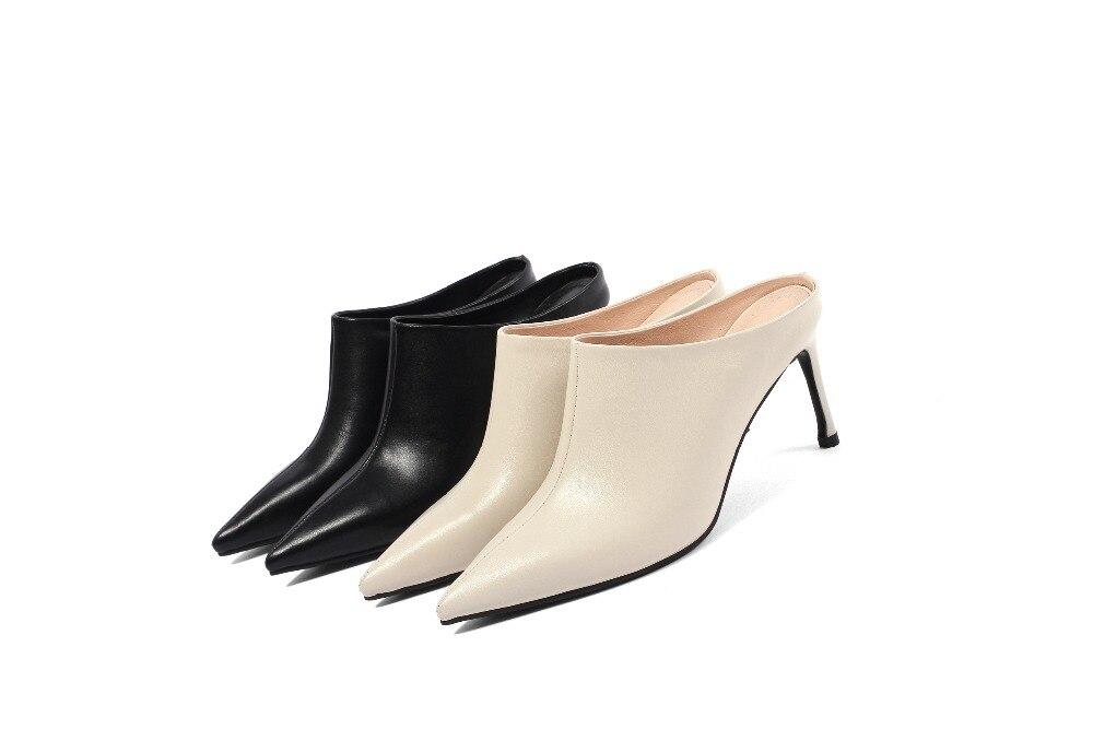 Chaussures Partie L66 Piste Bout Lenkisen Sandales Talons D'été Sur Slingback noir Vache Cool Solide Streetwear Hauts Mules Beige Slip Pointu Cuir En waTw6gqH