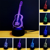 Creative 3D Visual Guitar Illusion Lamp LED 7 Color Night Light Music Home Decoration Changeable Lamparas