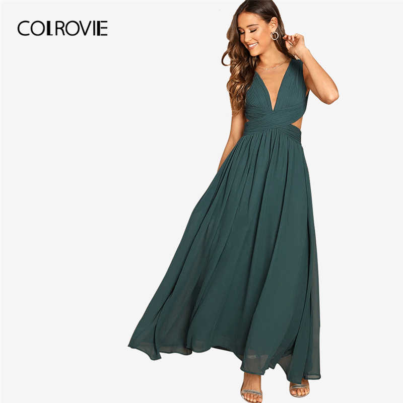 568488d0253c4 Detail Feedback Questions about COLROVIE Green V Neck Crisscross ...