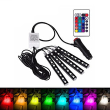 7 colore LED Car Interior Lighting RGB Kit styling auto interni Decorativi atmosfera luce Piede Lampada A Distanza Senza Fili di Controllo